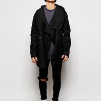 ASOS | ASOS Hooded Jacket With Cowl Neck In Black at ASOS