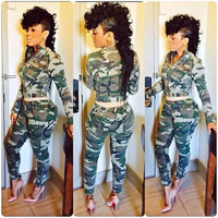 Camouflage Long Sleeve Cropped Top and Pants Set