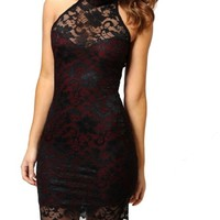 Women's Sexy Polo Neck Floral Lace Cocktail Evening Mini Dress Party Clubwear (Black)