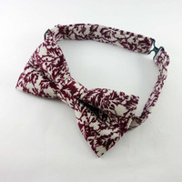 Mens bow tie corduroy - white and burgundy holly bowtie - corduroy bow tie - Christmas bow tie pre tied adjustable