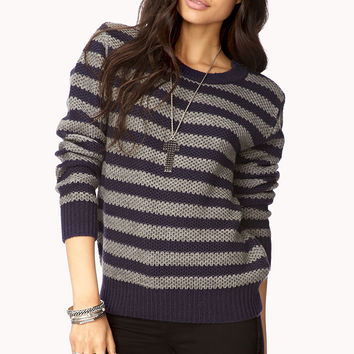 FOREVER 21 Bold Zippered Striped Sweater