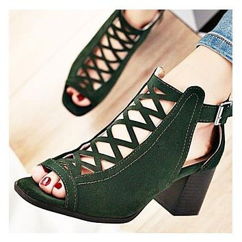 Summer new fishmouth sandals large size women's shoes Roman shoes Green