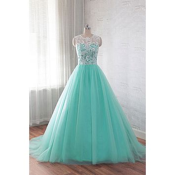 Green A Line Prom Dress with Lace Bodice, Evening Dress, Formal Dress, Ball Gown CD0113