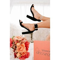 Sippin' Martinis Clear Strap Heels (Black)