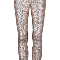 ROMWE | Golden Sequined Black Leggings, The Latest Street Fashion