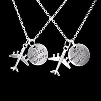 No Matter Where Airplane Long Distance Best Friend Sister Mom Gift Necklace Set