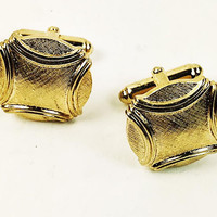 Anson Cufflinks and Tie Tack Polished Accent Brushed Finish Gold Tone Vintage-Midcentury