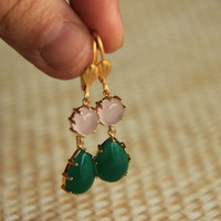 Earrings gold plated leaf hooks with jade green crystal and pink quartz , wedding, bridesmaid, christmas, valentine's, mother's day.