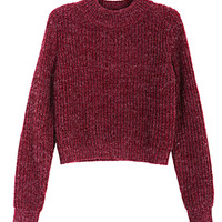 Wine Red Long Sleeve Crop Knitted Jumper