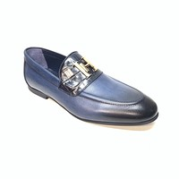 Sigotto Men's Navy Blue Leather/Embossed Gator Penny Loafers