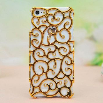 Sparking Rhinestone Flower Hollow Out Case For Iphone 5