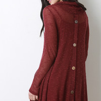 Button Back Cowl Neck Knit Dress