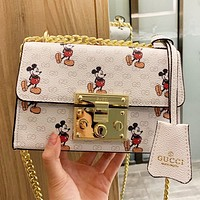 GUCCI & Disney New fashion more letter mouse print chain leather shoulder bag crossbody bag White