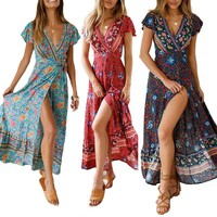 Women Long Maxi Dresses Summer Bohemian Sexy V-neck Short Sleeve Floral Print Dress Female Beach Vintage Boho Dress