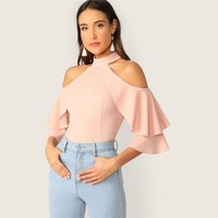 Elegant Pastel Pink Ruffle Halter Cold Shoulder Layered Bell Sleeve Top Blouse Women Slim Fit Sexy Party Blouses