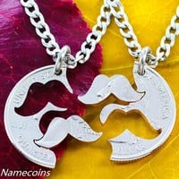 Mustache Necklace, quirky couples jewelry, Interlocking Relationship Set Puzzle Quarter, hand cut coin