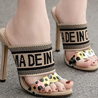 Women's shoes are selling well in open-toe knit stiletto slippers shoes