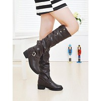 Round Toe Buckle Knee High Boots Artificial Lamb Wool Shoes Woman 3338