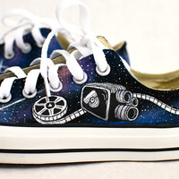 Custom Hand-Painted Black Low Top Chuck Taylor Converse US Women's size 7.5