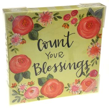Brownlow Gifts Decorative Wall Art Canvas Count Your Blessings 10x10 Red Flowers
