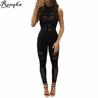 Sexy Elegant perspective Rompers Womens Jumpsuit 2016 New Arrivals black Mesh Sleeveless Long Bodysuit Women club party Overalls