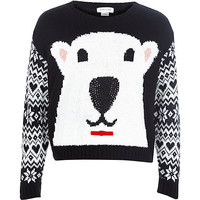 River Island Girls black polar bear sweater