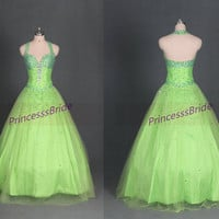 2014 longkelly tulle prom dress with sequins,sweetheart quinceanera dresses,vintage beaded ball gown gowns for holidy party.