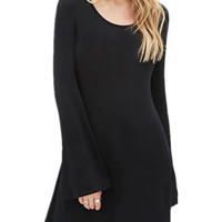 Black Bell Sleeve A-Line Mini Dress