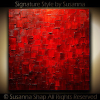 Original Palette Knife Painting Modern Large Red Abstract Painting Fine Art on Canvas Thick Texture Ready to Hang 30x30 by Susanna