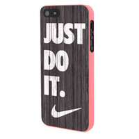 Nike Just Do It Wood Colored Darkwood Wooden iPhone 5 Case Framed Pink