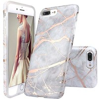 iPhone 7 Plus Case, DOUJIAZ Gray Rose Gold Marble Design Clear Bumper TPU Soft Case Rubber Silicone Skin Cover for Normal 5.5 inches iPhone 7 Plus