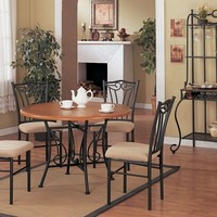 5 pc Black metal and wood dining table set with optional Wine rack
