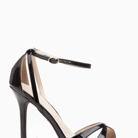Black Faux Patent Leather Ankle Strap Cut Out Single Sole Heels @ Cicihot Heel Shoes online store sales:Stiletto Heel Shoes,High Heel Pumps,Womens High Heel Shoes,Prom Shoes,Summer Shoes,Spring Shoes,Spool Heel,Womens Dress Shoes