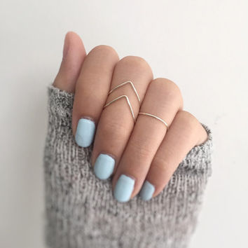 Knuckle Ring set, midi ring set of 3, v rings, gypsy, adjustable ring pack of 3, stacking rings,ring set,shiny ring pack,hammered chevron