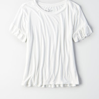 AE Soft & Sexy Ruffle Sleeve T-Shirt , Natural White