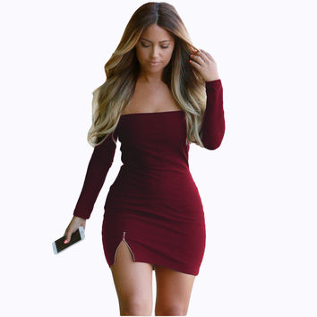 Pure Color Off Shoulder Bodycon Short Dress