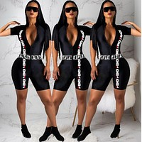 FENDI Women Half Zipper Short Sleeve High Collar Jumpsuit