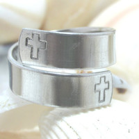 Crosses With Psalms 71:14 On Inside Hand Stamp Adjustable Wrap Ring (417B)
