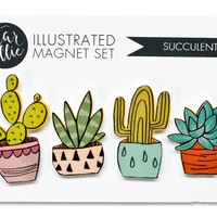 Succulents Illustrated Magnets - Set of 4