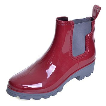 Platform Rain Boots Ladies Rubber Ankle RainBoots Low Heels Women Slip On Pumps Shoes Woman Plus