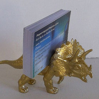 Dinosaur Theme Business Card Holder in Gold with your Dinosaur Planter - Diorama! Office Desk, Desk Accessory, Dorm Room, Stocking Stuffer!