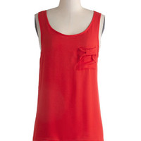 ModCloth Mid-length Tank top (2 thick straps) Berry Bliss Top in Strawberry
