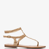 Spike-Accented Gladiator Thong Sandals