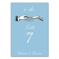 I Do Vintage Wedding Ring Blue Table Card