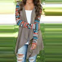 Fashion Women Outwear Casual Loose Thin Jacket Vintage Long Sleeve Coat Cardigan Irregular Plus Size