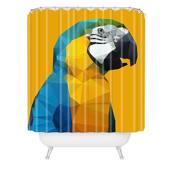 Three Of The Possessed Parrot Tropical Yellow Shower Curtain