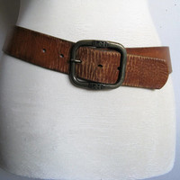 Vintage 1980s Leather Belt LEE Hand Stained Tan Rustic Beat Up Mens Leather Belt 32