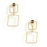 Sale-gold Geo Square Double Earrings