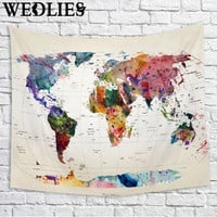 Polyester Wall Hanging World Map Tapestry Indian Mandala Throw Blanket Bedspread Home Dorm Living Room Decoration 150X130cm