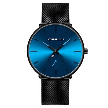 Mens Watches Ultra-Thin Minimalist Waterproof - Fashion Wrist Watch for Men Unisex Dress with Stainless Steel Mesh Band BLUE black